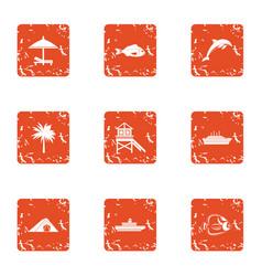 Coastal happiness icons set grunge style vector