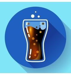 Cola splash or soda glass with bubbles icon flat vector
