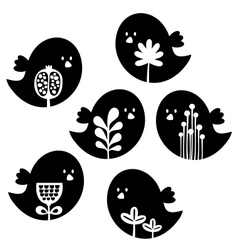 Collection of cute birds with flower decor vector image