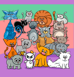 comics cats cartoon characters group vector image