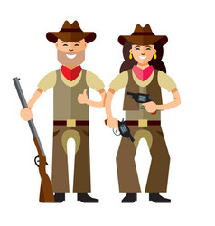 Cowboys with rifle flat style colorful vector
