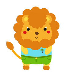 cute lion cartoon kawaii animal character in vector image