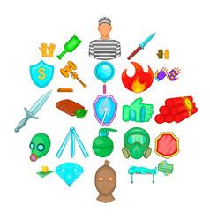 delinquency icons set cartoon style vector image