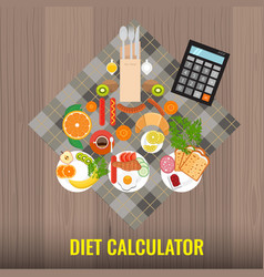 Diet calculator concept calculating or counting vector
