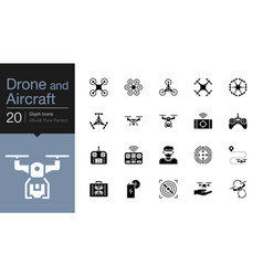 Drone aircraft and aerial icons gylph icon design vector