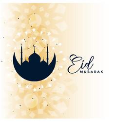 Eid mubarak wishes card islamic greeting design vector