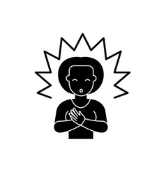 Enlightenment black icon sign on isolated vector