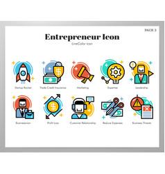 Entrepreneur icons linecolor pack vector