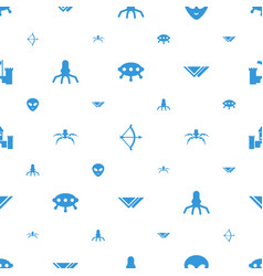 Fantasy icons pattern seamless white background vector