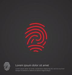 fingerprint outline symbol red on dark background vector image