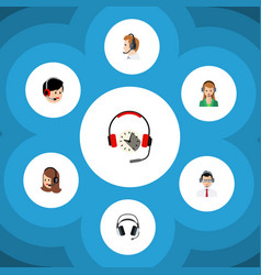 Flat center set of earphone service vector