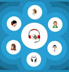 Flat center set of earphone service vector