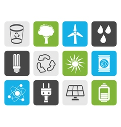 Flat Ecology energy and nature icons vector