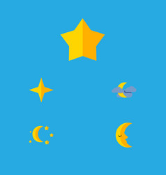 Flat icon midnight set of moon starlet bedtime vector