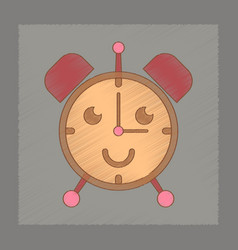 Flat shading style icon kids alarm clock vector