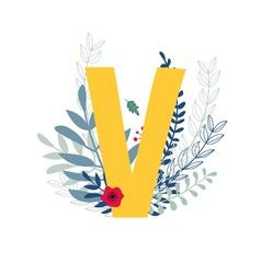 Floral alphabet letter v vector