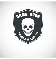 Game over symbol with skull vector image
