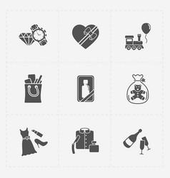 Gift flat black shop icon set on white vector