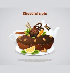 glazed chocolate pie vector image