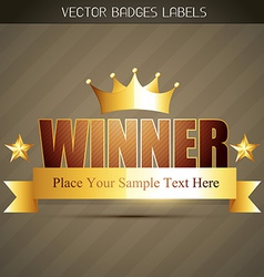 golden winner label vector image