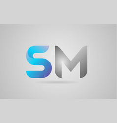 Grey blue alphabet letter sm s m logo icon design vector