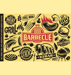 Grill and barbecue symbols iconslabelslogos and vector
