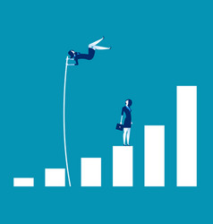 Growth for business leader and jumping concept vector