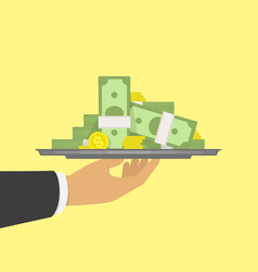 hand holding tray with big pile of money vector image
