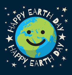 Happy earth day poster in retro style greeting vector