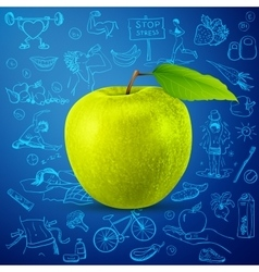 Healthy lifestyle background with green apple vector