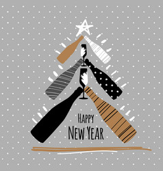 holiday new year greeting postcard with champagne vector image