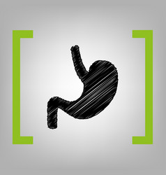 human anatomy stomach black scribble icon vector image