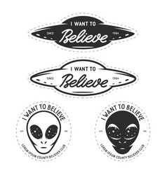 I want to believe patches set vintage vector