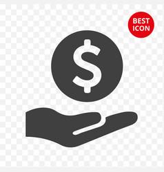 icon dollar in hand careful storage money line vector image