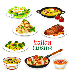 italian pasta with sauces meat and fish dishes vector image