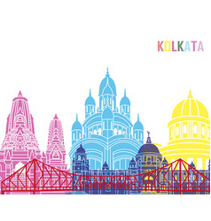 Kolkata skyline pop vector