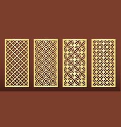Laser cut panels set for wood or metal decor vector