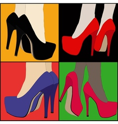 Legs and shoes of a women in a tribute to pop art vector
