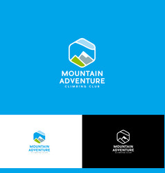 Logo mount adventure hexagon peaks alpinism vector