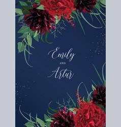Luxury stylish floral watercolor wedding invite vector