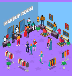 Makeup room with mannequins isometric vector