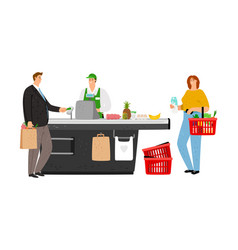 Man pay in grocery vector