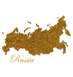 map russia silhouette with golden glitter vector image