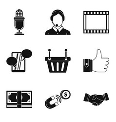 Master the technology icons set simple style vector