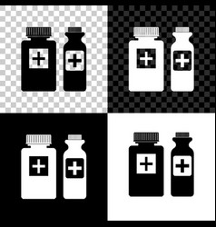 medicine bottle icon isolated on black white and vector image
