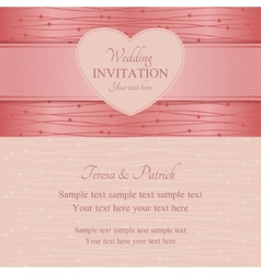 Modern wedding invitation pink vector image