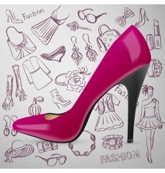 Modern womens shoes and hand draw Fashion icon vector