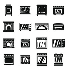 Oven stove fireplace icons set simple style vector