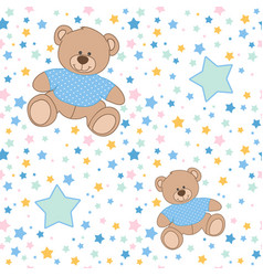 Pattern bear stars vector
