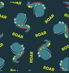 pattern cute dinosaur isolated vector image
